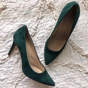 J. Crew Suede Emerald Heels